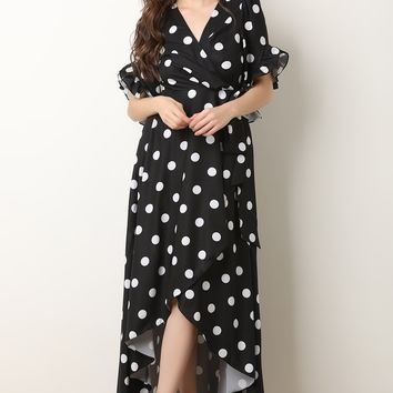 Polka Dot Ruffle Sleeves Surplice Wrap Dress