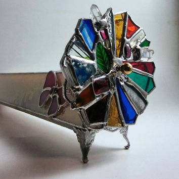 Kaleidoscope Stained Glass Art Limited Edition Collectible Kaleidoscope Gems & Crystals Double Wheels Iridescent Body with Pink Butterflies