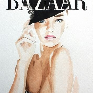 Harper's Bazaar Magazine Cover. Miranda Kerr. Fashion Illustration Art Print by Feeling Artsy