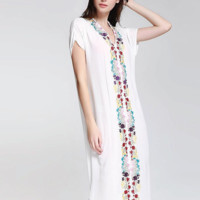 Embroidered Loose Fitted Cotton Caftan