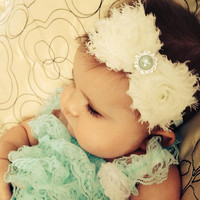 Baby headband, teal ivory baby headband, photo prop headband, toddler headband, shabby chic baby headband, newborn headband