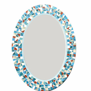 Oval Mosaic Wall Mirror in Teal, Aqua, White, Brown