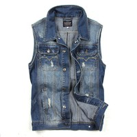 Juice Action Men's Slim Fit Jeans Denim Vest Outwear