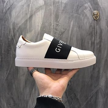 Givenchy Paris Strap Sneakers In Leather Bh0003h017-116