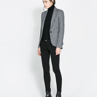 BLAZER WITH IMITATION LEATHER PIPING - Blazers - Woman | ZARA United States