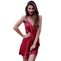 Women Shinning A-Line Dresses Sexy Deep V Neck Back Criss Cross Choker Neck Silk Satin Slip Dress Party Vestidos