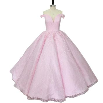 Elegant Princess Style Evening Dress Pink Lace Satin Ball Gown Off Shoulder robe