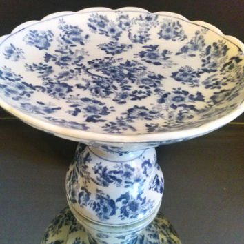 SALE Free Shipping Oriental Imari Cake Stand Chinese Fruit Bowl 19th Century Blue Meiji Petestal Centerpiece Marked Footed Bowl Dish