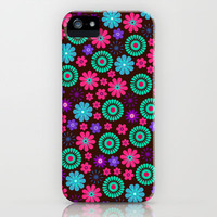 Colorful Vibrant Floral Pattern iPhone & iPod Case by Doodle's Designs