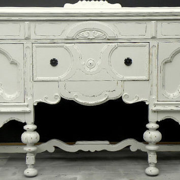 Shabby chic vintage buffet sideboard dresser distressed vintage white take