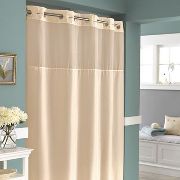 Mystery Hookless Fabric Shower Curtain