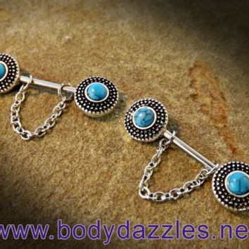 Set Of Turquoise Filagree Nipple Rings 14ga Surgical Steel Nipple Barbell Body Jewelry