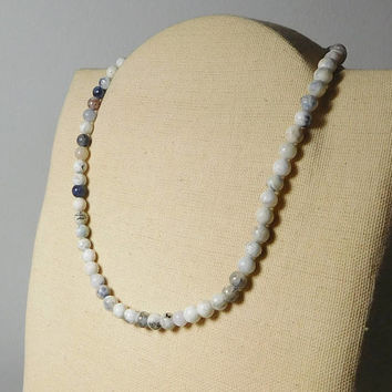 "White Onyx Choker Necklace Adjustable Hippie Jewelry Men Women Unisex 16 1/2"" to 19 Inches Splashes of Black and Gray"