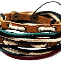 Jewelry bangle leather bracelet buckle bracelet women bracelet men bracelet with leather ropes and metal chain 1s