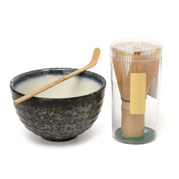 Hot Sale 3pcs Sets Bamboo Matcha Tea Ceremony Gift Set With Ceramic Tea Bowl Scoop Powder Whisk Chasen Japanese Teaware Present