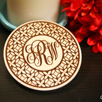 Wood Engraved Coasters Set of 4 Flower of Life  w/Personalized Initials: gift for her, housewarming, wedding, anniversary, mothers day