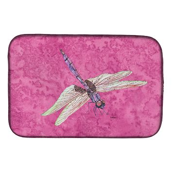 Dragonfly on Pink Dish Drying Mat 8891DDM
