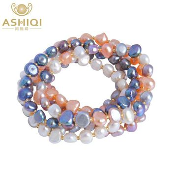 Freshwater Multi Color Baroque Pearl Crystal Beaded Bracelets