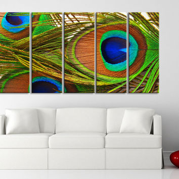 Large Canvas Art Print for Home Decoration, Ready Hanging, Great Print, Peacock Feather - MC86