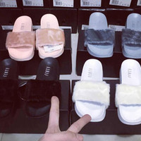 With Box & Dustbag 2016 New Rihanna Leadcat Fenty Color Slipper Faux Fur Burgundy Slide Slippers Ladies Indoor Purple Pink Sandals