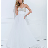 (PRE-ORDER) Tony Bowls 2014 Prom Dresses - Ivory Embellished Pleated Strapless Chiffon Gown