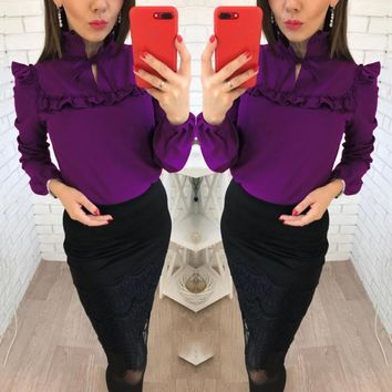Women Long Sleeve Blouse Temperament Frenulum Ladies Chiffon Blouses Solid Colours Ladies Tops Clothing Shirts