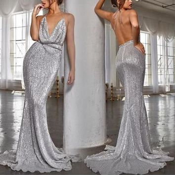 Vaylynne Shimmer Open-Back Maxi Dress