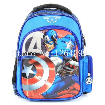 New Fashion American Captain Boys Students School Bags Kids Backpack Bag For Children