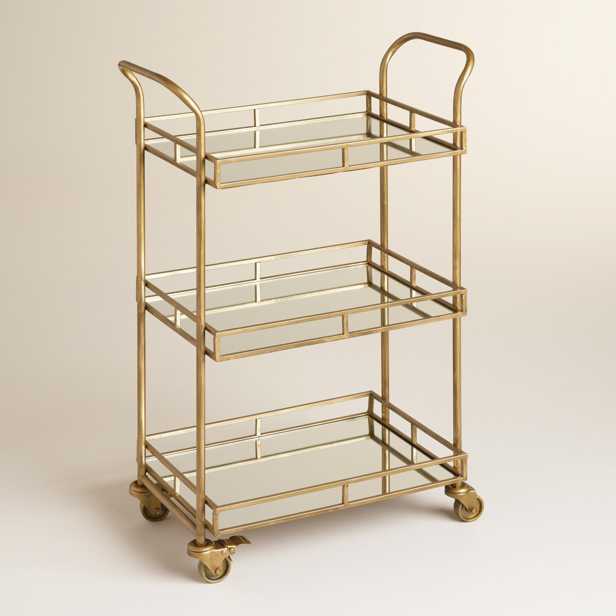 gold cole 3 tier rolling bar cart from cost plus world market. Black Bedroom Furniture Sets. Home Design Ideas