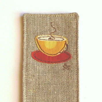 Bookmark for coffee lover. Cute embroidered coffee cup book mark. Unusual gift for him or her. Original handmade design. Made in England.