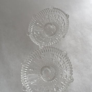 1940s Vintage CLEAR CUT GLASS Candle Holders - Ambient Lighting Holders - Romantic Clear Cut Glass For Table Decorating - From Another Era