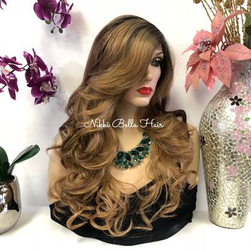 Brown Dark Blond Brunette Balayage Ombre Swiss Lace Front Wig 22 Inches | Deep Side Parting | Volume Curls Layered Hair | Pearl 1018 26