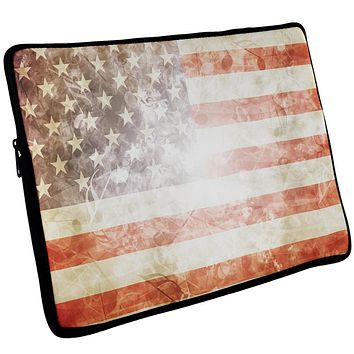 4th of July American Flag Star Spangled Banner Laptop Sleeve 17 inch