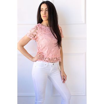 Willa Lace Crop Top - coral
