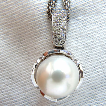 12.75mm natural south sea pearl .50ct diamonds necklace tulip 14kt (5) stranded