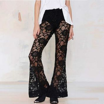 Women Fashion Hook Flowers Hollow Lace Perspective Flares Trousers Leisure Pants