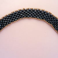 Beaded bracelet with air force blue metallic super duo beads and gold Miyuki seed beads. Handmade