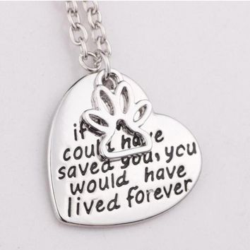 """Heart Shape Pendant Text Dog Footprints Necklaces """"if love could have saved you ,you would have lived foever"""""""