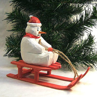 Snowman on a Sled Wood Carving Art Sculpture Home Decor