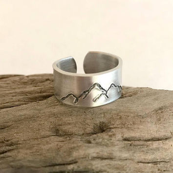 Silver Mountain Ring, hand stamped ring, aluminum or sterling silver, adjustable ring, unisex ring, hiking jewelry, climbing gift, wide band