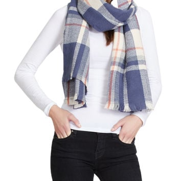 LE3NO Womens Oversized Plaid Cold Weather Scarf (CLEARANCE)