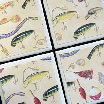 Fishing Tile Coasters, Tile Coasters, Coaster, Coasters, Tile Coaster, Fish Coasters, Fishing, Ceramic Coasters, Coaster Set of 4
