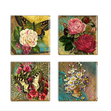 Butterflies Flowers Coasters Ceramic Drink Coasters Sublimated Drink Coasters  Handmade Wall Decor Art