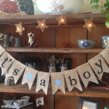 Burlap Baby Bunting, Baby Shower Decoration, Its A Boy Bunting, Baby Boy Bunting, Pregnancy Photo Prop, Country Shower Decor, Rustic Bunting