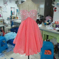 Handmade Sequins Watermelon Homecoming Dress/ Cocktail Dress /Coral Prom Dress/ Short Homecoming Dress/ Short Prom Dress/ Formal Dress