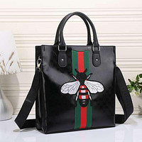 Gucci Women Bee Embroidery Leather Tote Handbag Satchel Crossbody