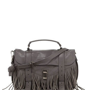 PS1 Medium Fringe Satchel Bag, Gray - Proenza Schouler