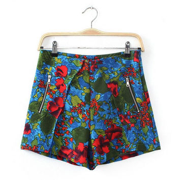 High Waisted Cotton Shorts For Women Floral Print Short Femme Fashion 2017 New European Summer Style Casual Womens Shorts 1119