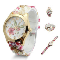 Simple Fresh Casual Floral Pattern Silicone Watch Christmas Gifts = 1956933764