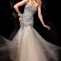 Fit And Flare Beaded Evening Gown by Tony Bowls Paris